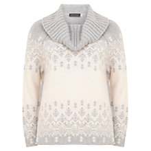 Buy Mint Velvet Cowl Neck Ski Jumper, Grey/Cream Online at johnlewis.com