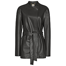 Buy Reiss Leather Alice Coat, Slate Online at johnlewis.com