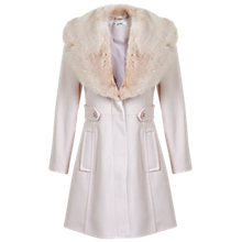 Buy Miss Selfridge Petite Faux Fur Flared Coat, Powder Blush Online at johnlewis.com