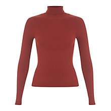 Buy Miss Selfridge Rib Roll Neck Jumper, Rust Online at johnlewis.com