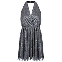 Buy Miss Selfridge Plise Halther Neck Dress, Silver Metal Online at johnlewis.com