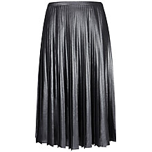 Buy Ted Baker Zainea Metallic Pleated Skirt, Charcoal Online at johnlewis.com
