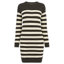 Buy Warehouse Stripe Button Shoulder Dress, Multi Online at johnlewis.com