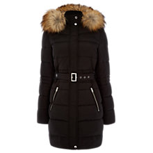 Buy Warehouse Faux Fur Puffa Jacket, Black Online at johnlewis.com