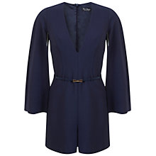 Buy Miss Selfridge Cape Sleeve Belted Playsuit, Navy Online at johnlewis.com
