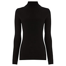 Buy Warehouse Ribbed Polo Neck Jumper, Black Online at johnlewis.com
