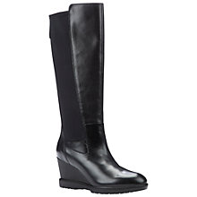 Buy Geox Jilson Wedge Heel Chelsea Long Boots, Black Leather Online at johnlewis.com