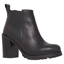 Buy KG by Kurt Geiger Star Block Heeled Cleated Sole Ankle Boot, Black Leather Online at johnlewis.com