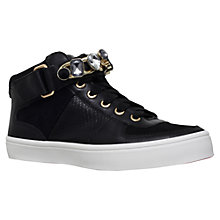 Buy Carvela Luminous Stone Buckle Low Top Trainers, Black Leather Online at johnlewis.com