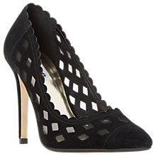 Buy Dune Bessie Scallop Detail Stiletto Court Shoes, Black Suede Online at johnlewis.com