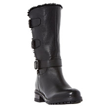 Buy Dune Robby Faux Fur Lined Buckle Boot, Black Online at johnlewis.com