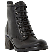 Buy Dune Patsie Lace Up Block Heeled Ankle Boots, Black Leather Online at johnlewis.com