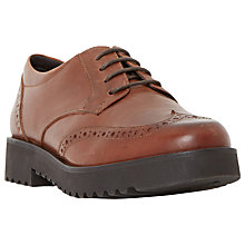 Buy Dune Feean Low Heeled Lace Up Brogues, Tan Leather Online at johnlewis.com