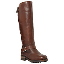 Buy Dune Vesper Block Heeled Knee High Boots, Brown Leather Online at johnlewis.com