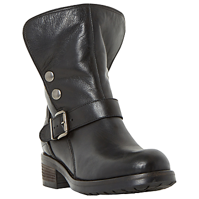 Dune Black Pacho Warm Lined Biker Boots, Black Leather