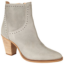 Buy Collection WEEKEND by John Lewis Obenheim Block Heeled Ankle Boots, Grey Leather Online at johnlewis.com