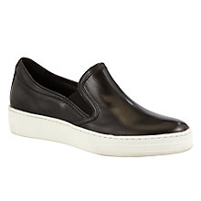 Buy Kin by John Lewis Edina Leather Slip On Trainers, Black Online at johnlewis.com