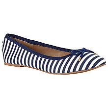Buy John Lewis Jenni Ballerina Pumps, Navy Stripe Online at johnlewis.com