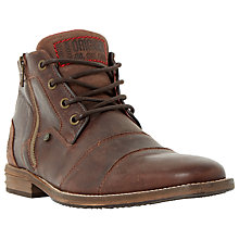 Buy Dune Captain Double Toe Cap Detail Leather Boots, Dark Brown Online at johnlewis.com