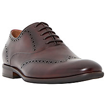 Buy Dune Reegally Burnished Leather Brogue Oxford Shoes, Burgundy Online at johnlewis.com