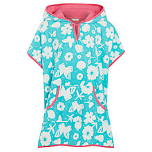 Buy John Lewis Girls' Bright Flower Poncho, Aqua Online at johnlewis.com