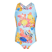 Buy John Lewis Girls' Fish Print Swimsuit, Blue Online at johnlewis.com