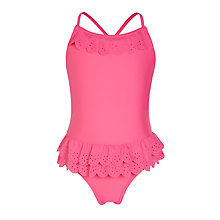 Buy John Lewis Girls' Laser Cut Swimsuit, Pink Online at johnlewis.com