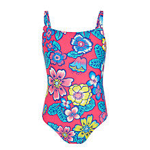 Buy John Lewis Girls' Tropical Floral Print Swimsuit, Pink Online at johnlewis.com