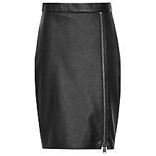 Buy Reiss Leather Mckayla Lace Leather Mini Skirt, Black Online at johnlewis.com