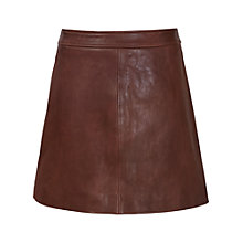 Buy Reiss Leather Amira Skirt, Tan Online at johnlewis.com