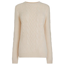 Buy Warehouse Cable Knit Jumper, Cream Online at johnlewis.com