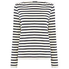 Buy Warehouse Stripe Button Top, White/Blue Online at johnlewis.com