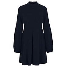 Buy Warehouse High Neck Babydoll Dress, Navy Online at johnlewis.com