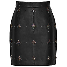 Buy Reiss Tess Embellished Leather Mini Skirt, Black Online at johnlewis.com