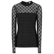 Buy Reiss Liv Lace Top, Black Online at johnlewis.com