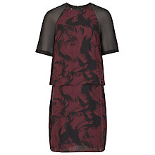 Buy Reiss Dawn Print Overley Shift Dress, Black/Claret Online at johnlewis.com