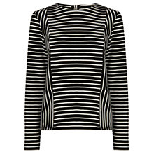 Buy Warehouse Textured Stripe Top, Black Stripe Online at johnlewis.com