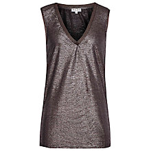 Buy Reiss Metallic V Neck Top, Gunmetal Online at johnlewis.com