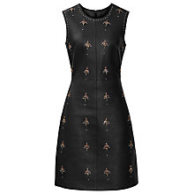 Buy Reiss Leather Leaf Embellished Dress, Black Online at johnlewis.com