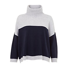 Buy Hobbs Kelly Cashmere Jumper, Navy/Grey Online at johnlewis.com