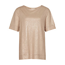 Buy Reiss Petra Metallic T-Shirt, Light Gold Online at johnlewis.com
