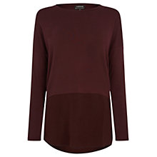 Buy Warehouse Woven Mix Sleeved Top, Dark Red Online at johnlewis.com