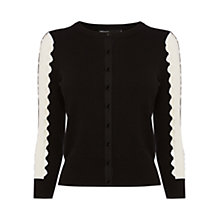 Buy Karen Millen Cut Out Stripe Knit Cardigan, Black/White Online at johnlewis.com