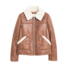 Buy Mango Faux Shearling Jacket, Dark Brown Online at johnlewis.com