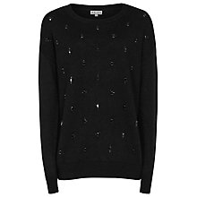 Buy Reiss Embellished Kimber Knit Jumper, Black Online at johnlewis.com