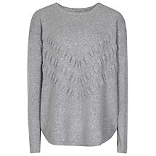 Buy Reiss Notch Detail Knit Top, Soft Grey Melan Online at johnlewis.com