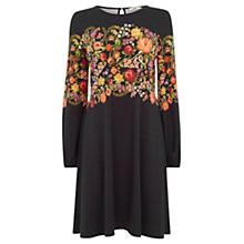 Buy Oasis Embroidered Floral Dress, Black Online at johnlewis.com