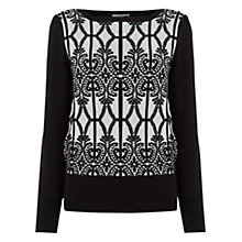 Buy Oasis Gothic Jacquard Knitted Jumper, Black Online at johnlewis.com