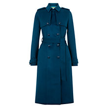 Buy Hobbs Callaghan Wool Trench Coat, Sea Blue Online at johnlewis.com