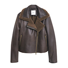 Buy Mango Aviator Zip Jacket, Dark Brown Online at johnlewis.com